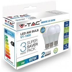 LED Birne - E27, 9W, A60, Thermoplastik, 3 Stück/Verpackung, Warmweiß