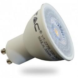 LED Spot Lampe - GU10, 7W, weiß Plastik, mit Linse, warmweiß